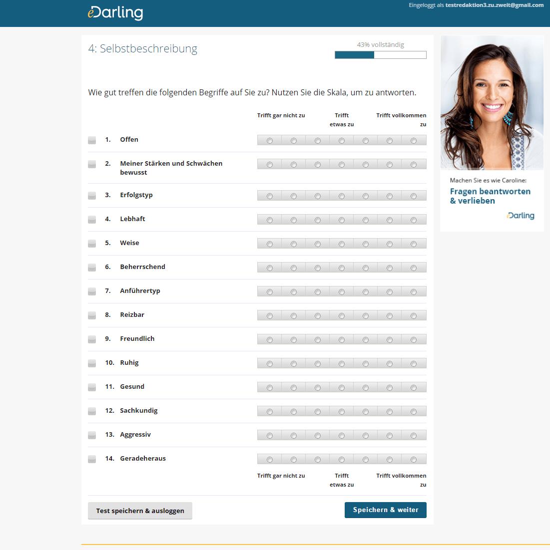 Anmeldung auf eDarling