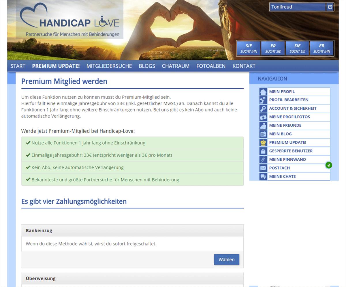 Handicap Love Kosten