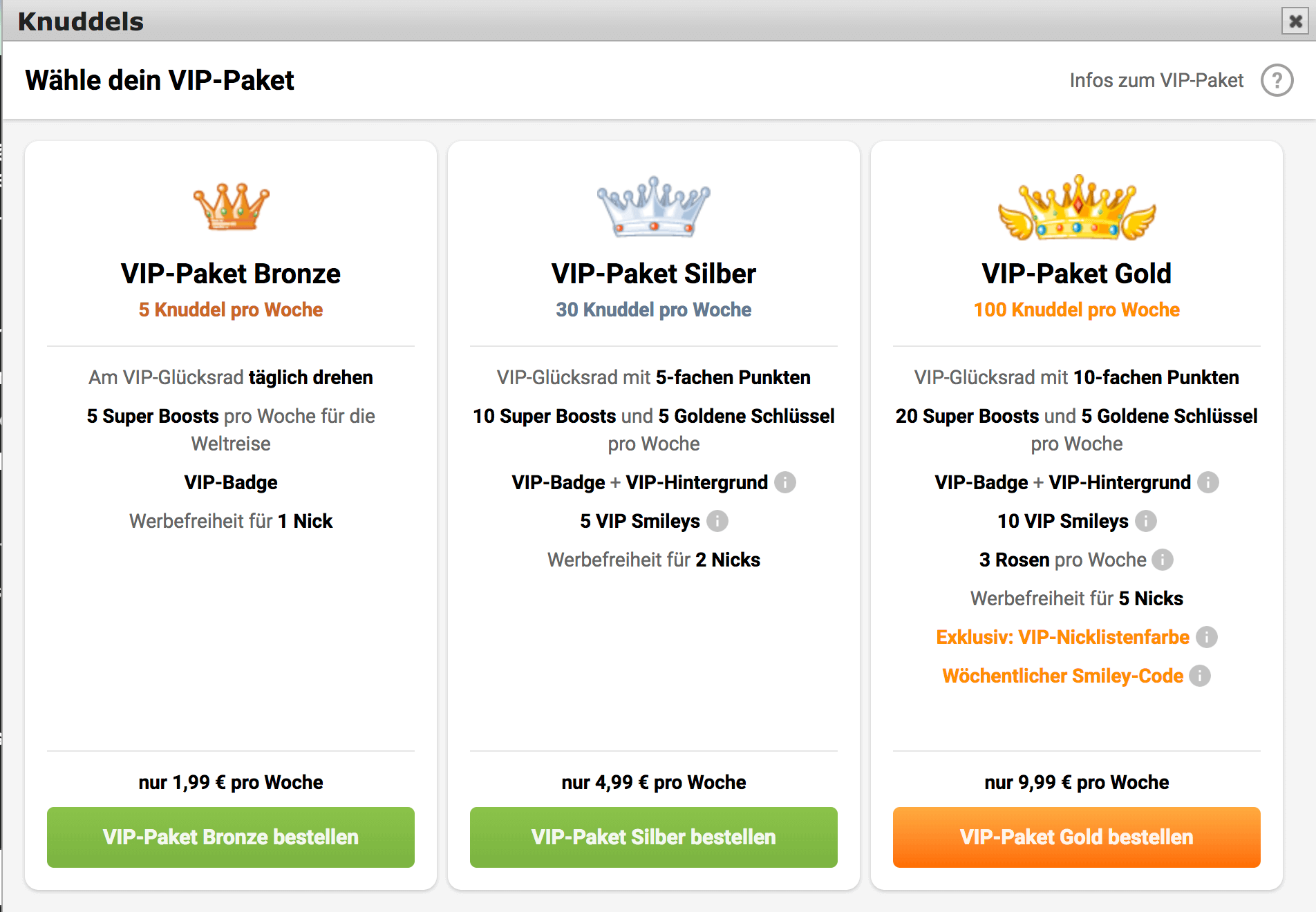 Knuddels.de Kosten VIP-Pakete