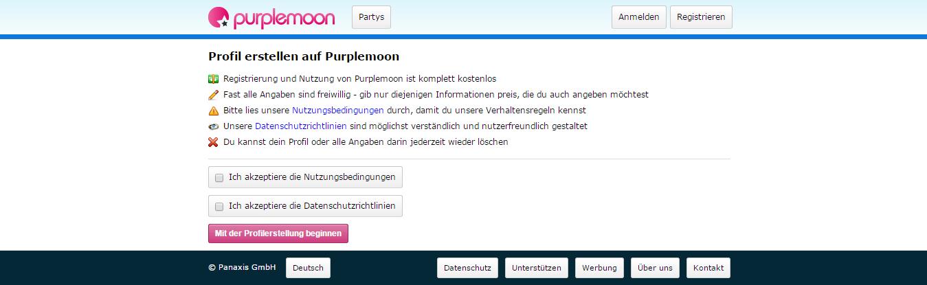 Purplemoon Anmeldung