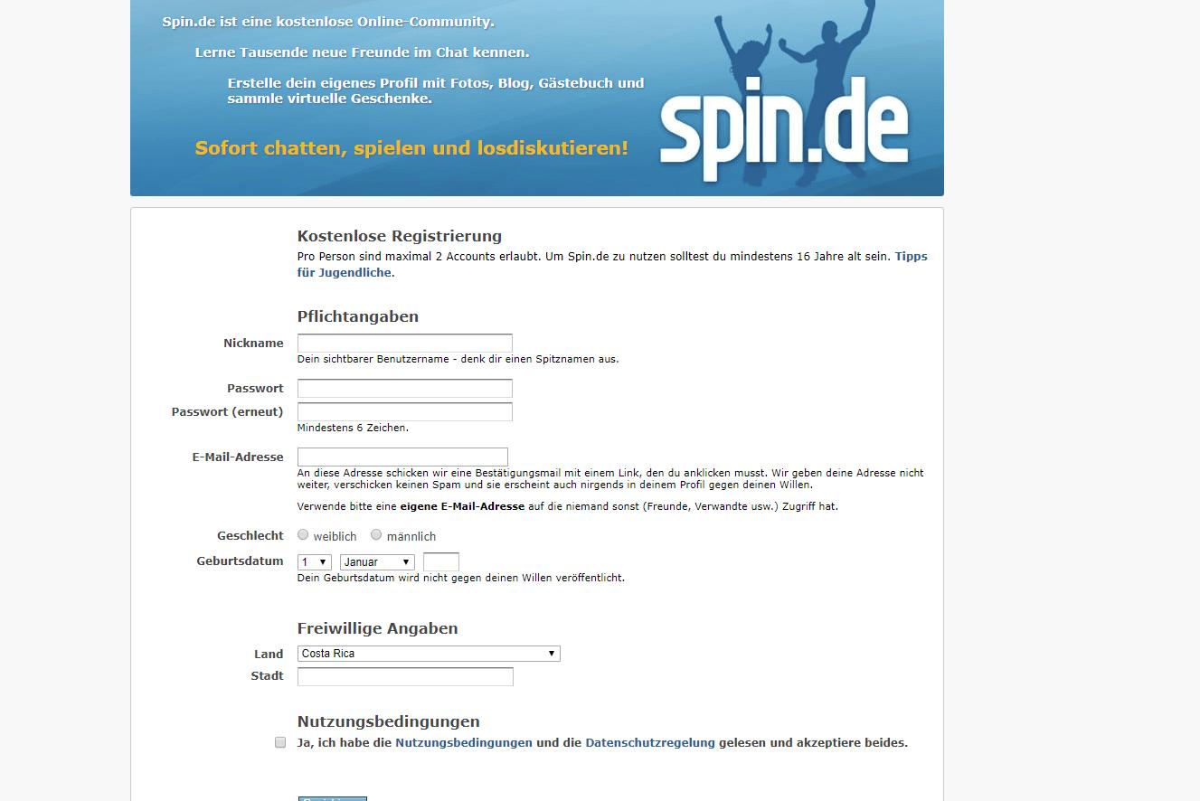 Spin Registrierung