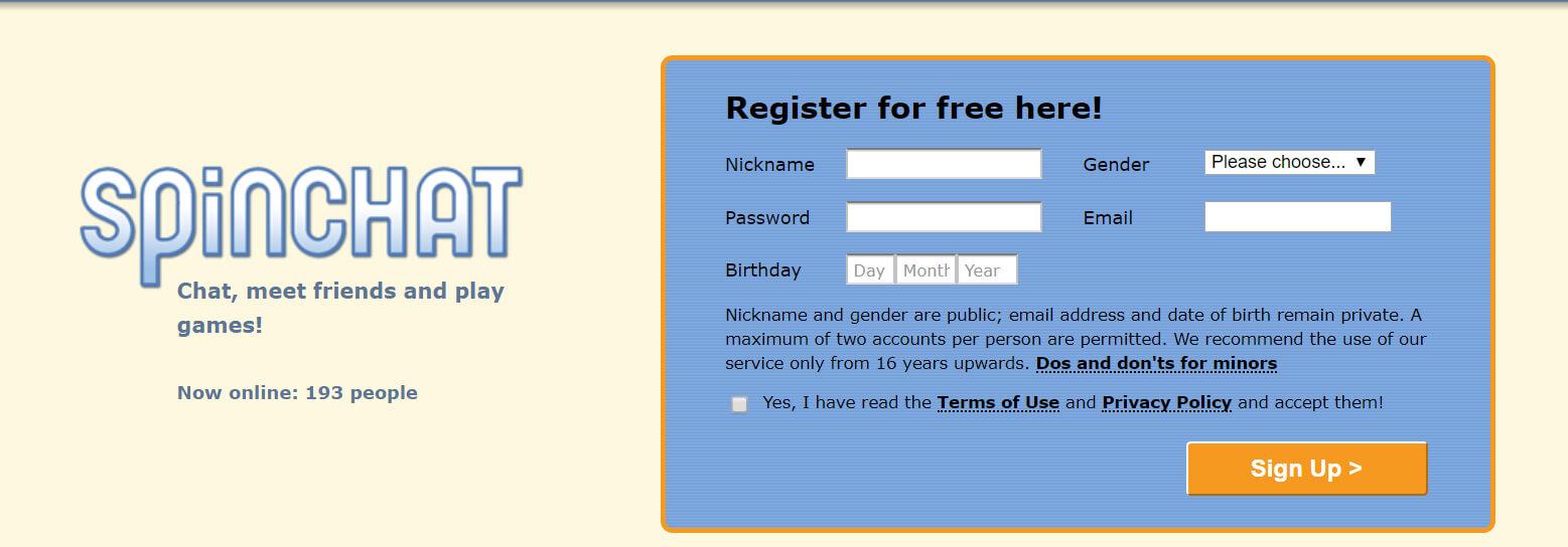 Spinchat Registrierung