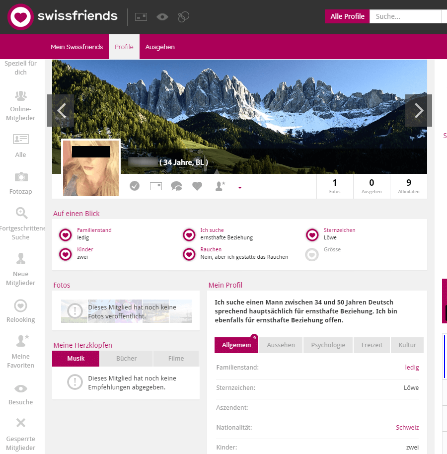 Profil auf Swissfriends.ch