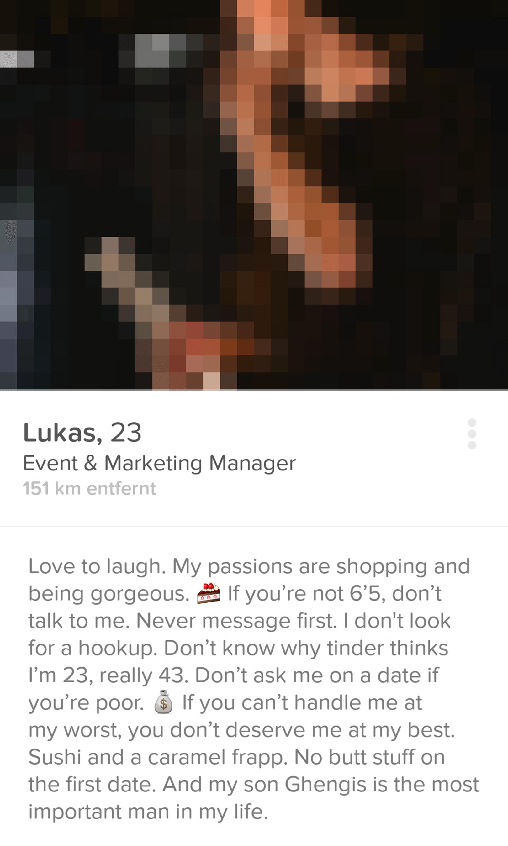 Tinder Profilbeschreibung ironisch