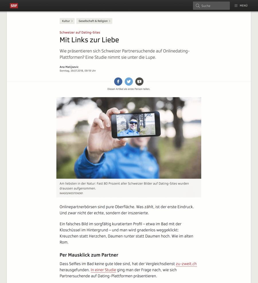 Artikel: Schweizer auf Dating-Sites