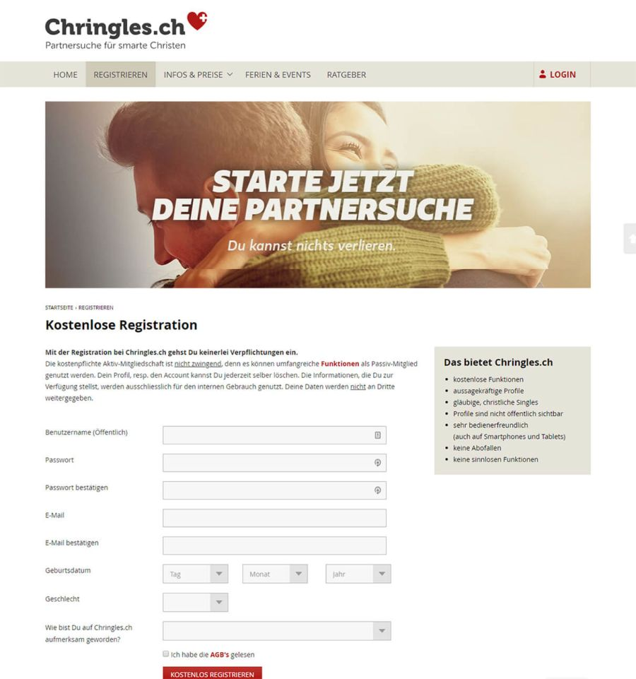 Chringles-registrierung