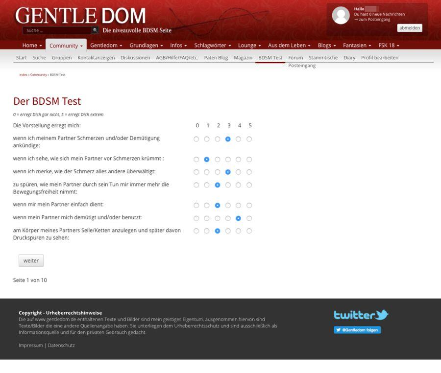 Gentledom BDSM Test