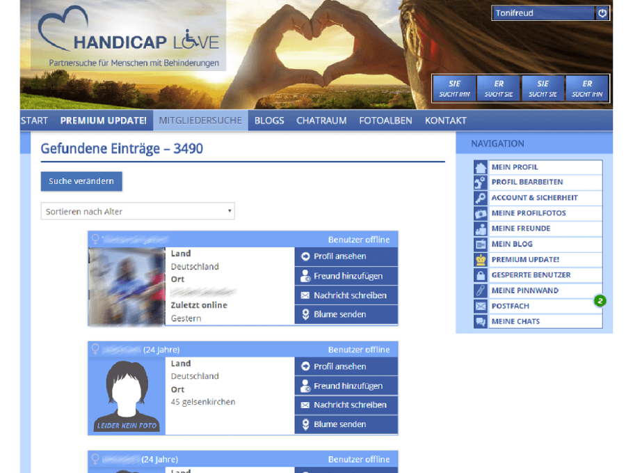 Handicap Love Partnervorschläge