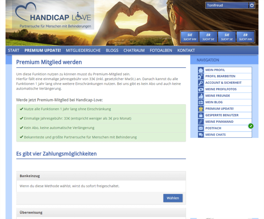 Handicap Love Kosten