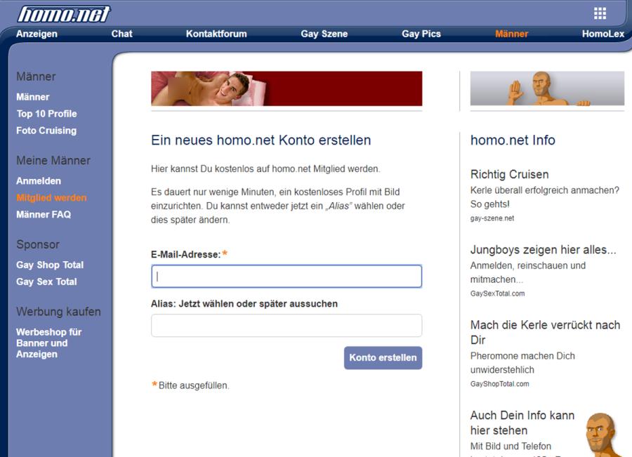 Homo.net Anmeldung