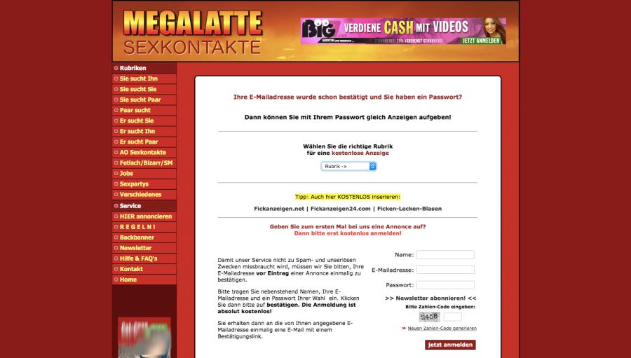 Megalatte Registrierung