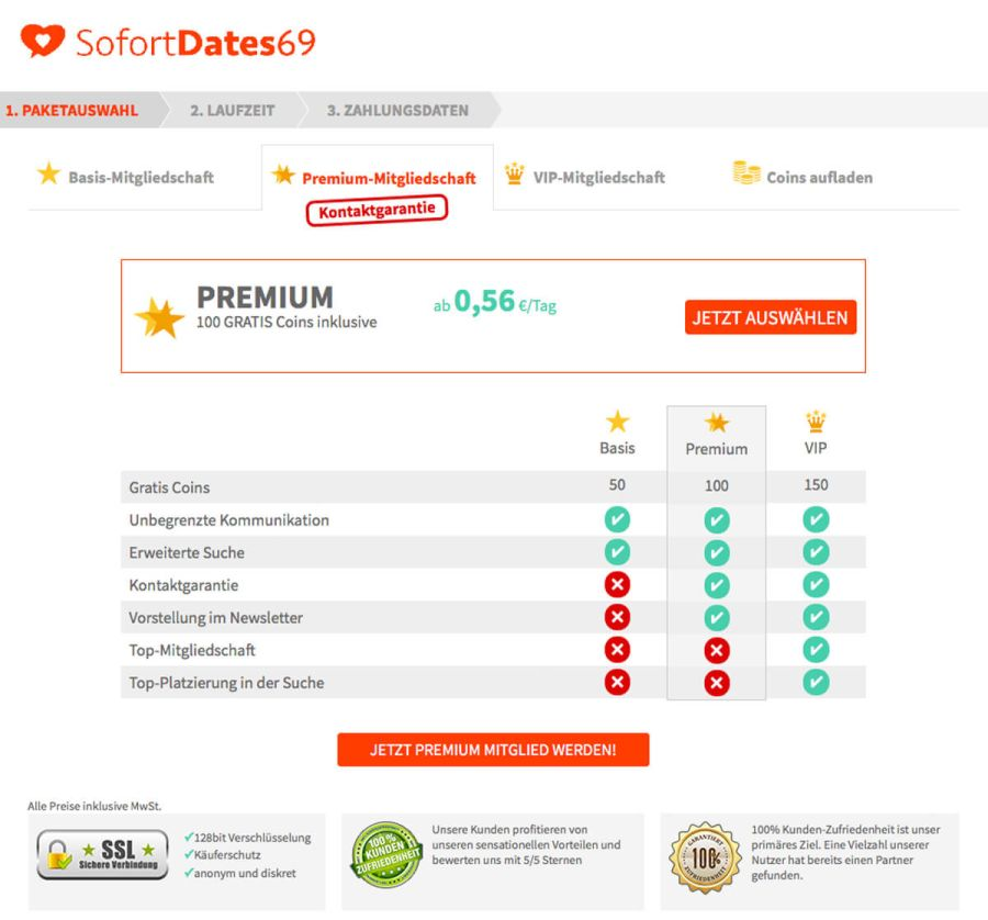 Sofortdates69 Membership Options