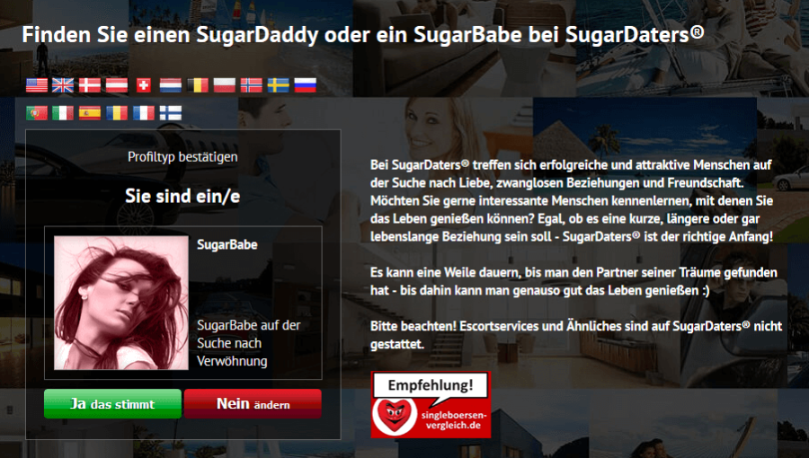 Sugardaters Anmeldung Frau