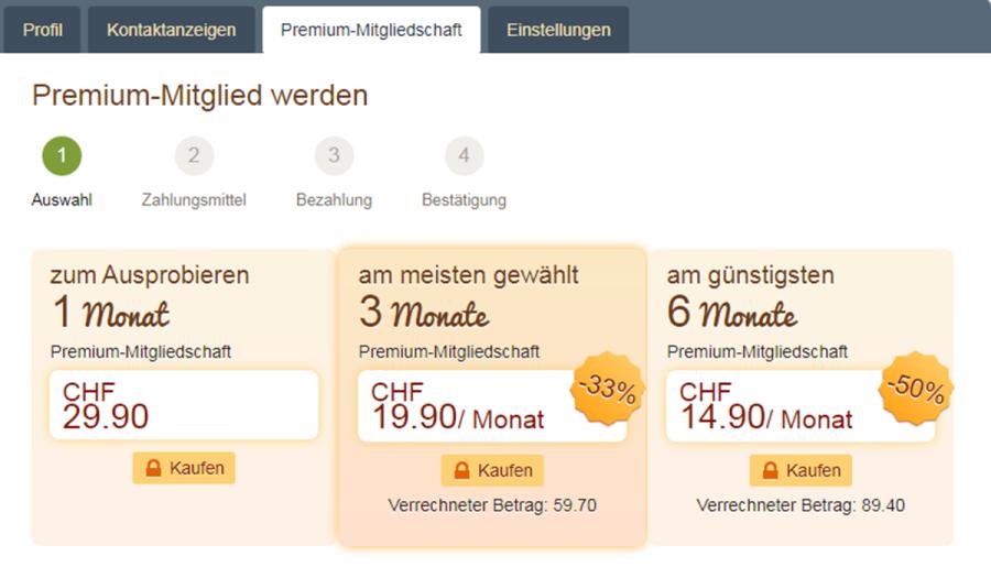 Swissflirt Premium Mitgliedschaft